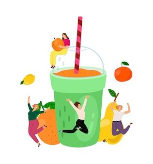 健康的なスムージー。夏のフルーツドリンク、オレンジジュース。