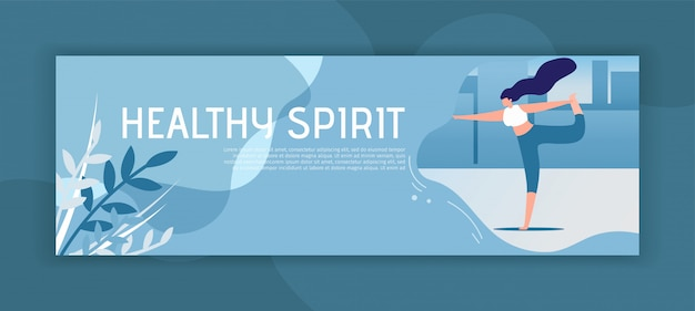 Healthy spirit inspirational header flat banner