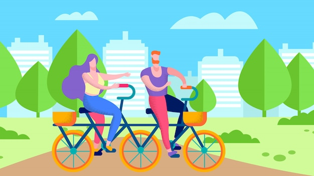 Healthy sport activity for two flat cycling illustration