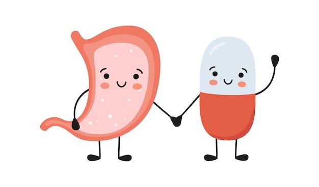 健康な胃と幸せな笑顔の薬の丸薬のキャラクターが手をつないでいます。カワイイ薬カプセルとかわいいお腹のキャラクター。胃炎を助けます。白い背景の上のベクトル分離イラスト。