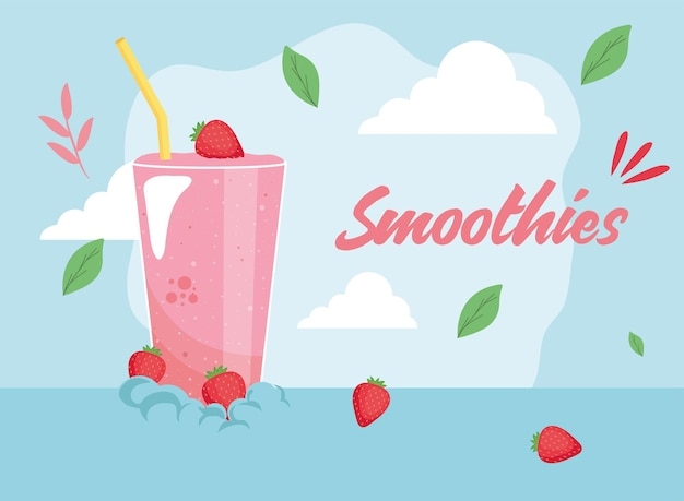 Healthy and strawberries smoothie drink glass
