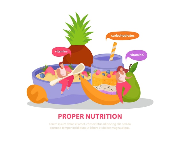 Healthy and super food flat background with editable text and doodle people with colourful thought bubbles