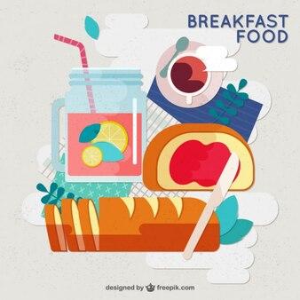 フラットなデザインで健康的なおいしい朝食