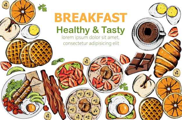 Healthy and tasty breakfast set with multiple food and drinks