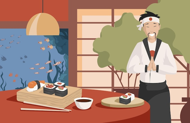 Healthy and tasty japanese food vector flat illustration japan chef