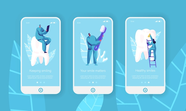 Healthy teeth clean toothbrush mobile app page onboard screen set. dentist make prevention, whitening toothpaste for healthcare website or web page. flat cartoon vector illustration