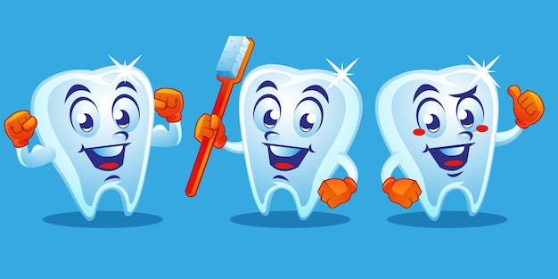 健康な歯の歯科マスコットデザイン