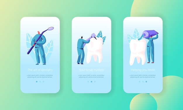 Healthy teeth treatment care mobile app page onboard screen set. dentist prevention, whitening and toothbrush with toothpaste for healthcare website or web page. flat cartoon vector illustration