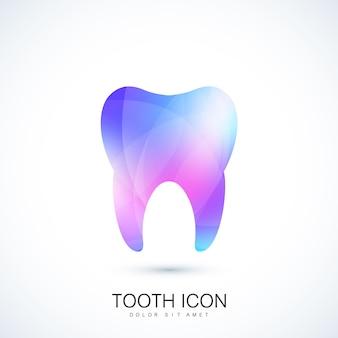 트렌디한 생생한 그라데이션 색상 효과의 건강한 치아. 치아 로고 아이콘입니다. 치아 개념입니다. 충치로부터의 관리 및 보호. 벡터 템플릿 디자인입니다.