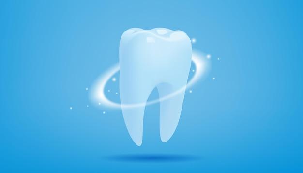 Здоровый зуб со светящимся эффектом на синем.