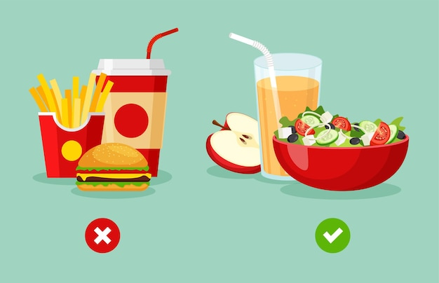 Healthy and unhealthy food greek salad with natural apple juice french fries burger with soda in flat trendy style