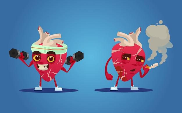 Healthy and unhealthy heart characters.   cartoon