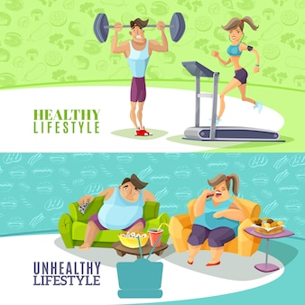 Healthy and unhealthy people horizontal banners set