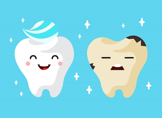 Healthy and unhealthy sad tooth cartoon characters.