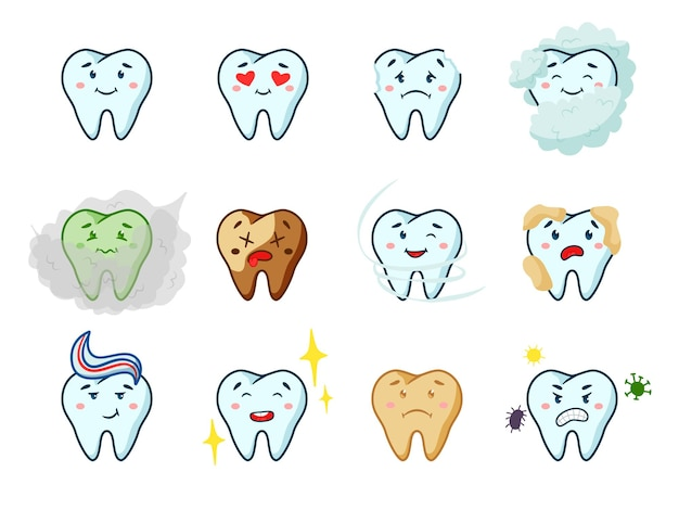 Healthy and unhealthy tooth character with different emotion. cute happy and unhappy, shiny clean and unwell carious teeth dental personage vector illustration isolated on white background