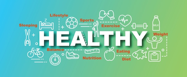 Healthy vector trendy banner