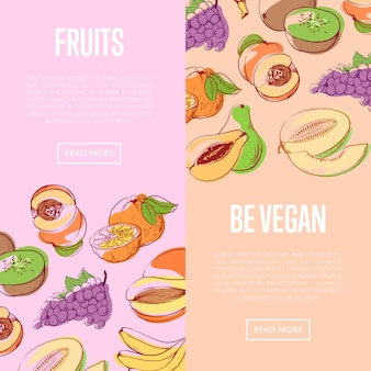 Healthy vegan nutrition banners with fruits