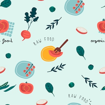 Healthy vegan seamless wallpaper