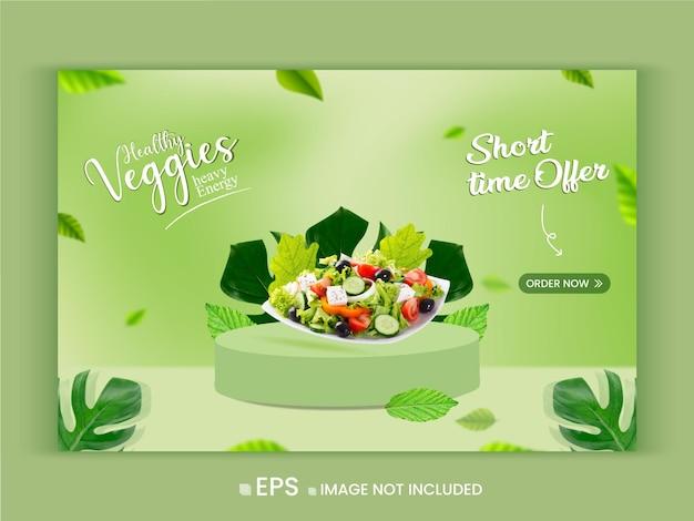 Healthy vegetable menu promotion offer web banner template premium vector