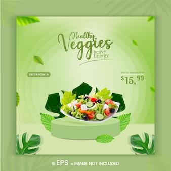 Healthy vegetable menu social media promotion offer instagram post banner template premium vector