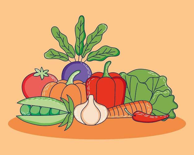 Дизайн здоровых овощей на фоне