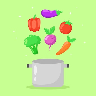 Healthy vegetables flying off pan hand drawn illustration.