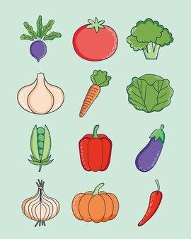 Дизайн набора иконок здоровые овощи