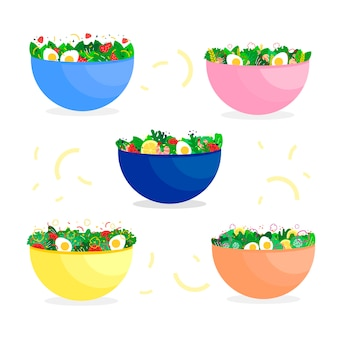 Healthy veggies and eggs in bowls