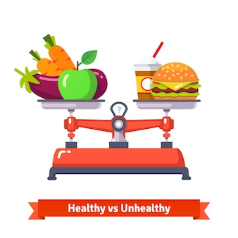 Healthy versus unhealthy food