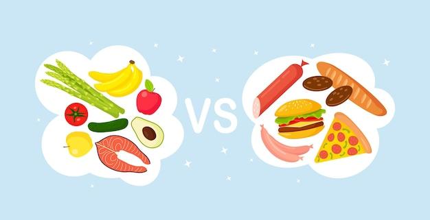 健康食品とジャンクフード。ピザ、ハンバーガー、パン、砂糖食品の不健康なライフスタイル。健康的な栄養には、野菜、魚、果物が含まれます