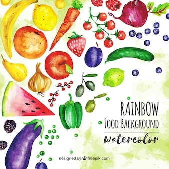 Healthy watercolor food background
