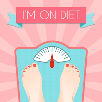 Healthy weight loss control with retro scale diet concept