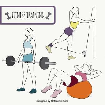 Healthy women exercising