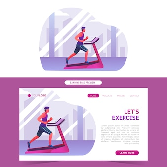 Healthy young men running with treadmill indoor training flat web template