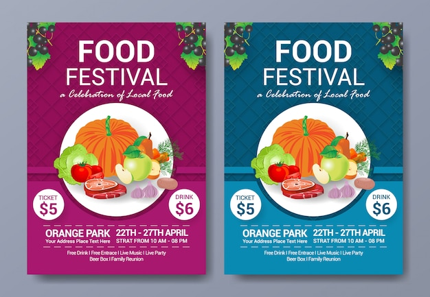 Healty food festival flyer template