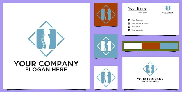Healty logo and business card inspiration premium vector