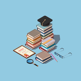 Heap of books with square academic cap and diploma