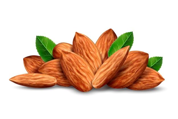 Куча миндальных орехов с листьями, изолированные на белом фоне, 3d иллюстрация