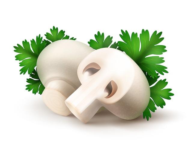 緑のパセリの葉と新鮮な全体とスライスされた半分白いポルタベロアガリクスシャンピニオンキノコのヒープを白い背景にクローズアップ