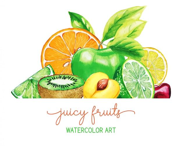 手描きの水彩果物のヒープ
