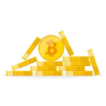 Куча золотых биткойнов в плоском дизайне. концепция роста биткойнов