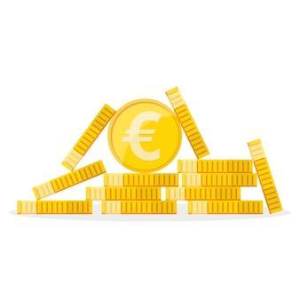 フラットなデザインの黄金のユーロ硬貨の山。ユーロ成長の概念