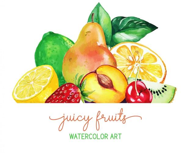 ヒープow手描き水彩果物