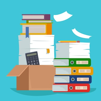 Heap of paper document file folders and cardboard boxes huge pile of paperwork bureaucracy concept