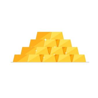 Heap or pyramid of isometric shiny gold ingots isolated on white background