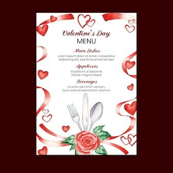 Акварельный шаблон меню дня святого валентина с heards