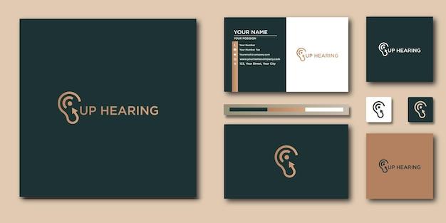 補聴器のロゴとブランドアイデンティティのデザインと名刺