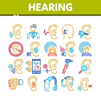 Hearing human sense collection icons set
