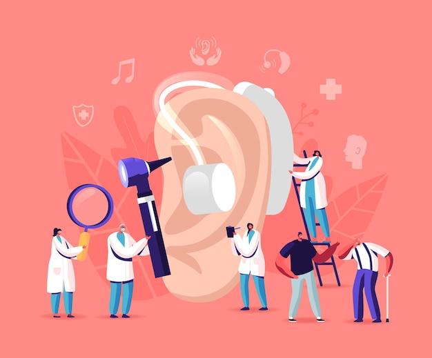 청력 상실, 난청. 청각 문제가 있는 청각 장애인은 치료를 위해 청각 전문의를 방문합니다. 보청기를 사용하는 거대한 귀 주위의 작은 캐릭터, 의료 예약. 만화 사람들 벡터 일러스트 레이 션