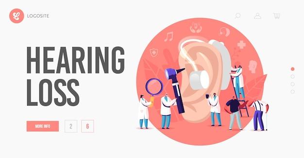 難聴、難聴のランディングページテンプレート。聴覚障害のある聴覚障害者は、治療のために医師のオーディオロジストを訪問します。巨大な耳の周りの小さなキャラクターは補聴器を使用します。漫画の人々のベクトル図